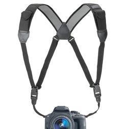 USA GEAR DSLR Camera Strap Chest Harness with Black Neoprene