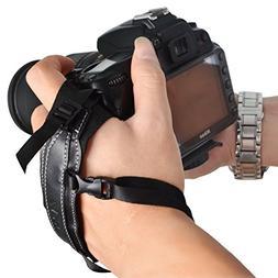 DSLR Camera Leather Wrist Strap Hand Grip + Metal Quick Rele