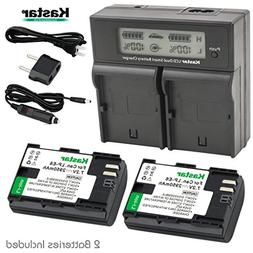 Kastar LCD Dual Smart Fast Charger & 2 x Battery for Canon L
