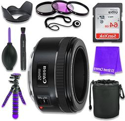 Canon EF 50mm f/1.8 STM Lens for Canon DSLR Cameras & SanDis