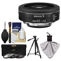 Canon EF-S 24mm f/2.8 STM Wide Angle Lens with Tripod + 3 Fi