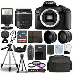 Canon EOS 2000D / Rebel T7 SLR Camera + 3 Lens Kit 18-55mm +