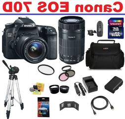 Canon EOS 70D DSLR Camera with 2 Canon Lenses Pro Pack: Incl