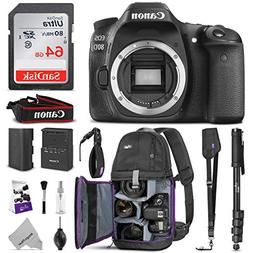 Canon EOS 80D DSLR Camera Body w/Advanced Photo and Travel B