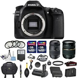 Canon EOS 80D 24.2MP Digital SLR DSLR Camera Bundle with Tam