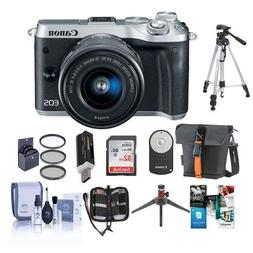 Canon EOS M6 Mirrorless Digital Camera Silver with EF-M 15-4