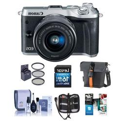 Canon EOS M6 Mirrorless Digital Camera Silver Kit with EF-M