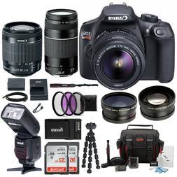 EOS Rebel T6 DSLR Camera 18-55mm 75-300mm Lens Bundle Bag Ex