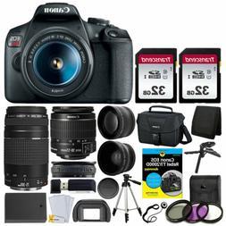 Canon EOS Rebel T7 DSLR Camera + 18-55 & 75-300mm Lens + 64G