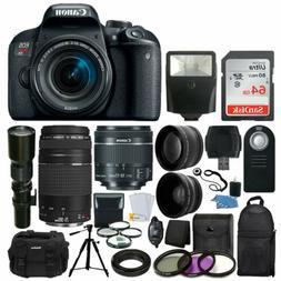 Canon EOS Rebel T7i DSLR Camera +18-55 +75-300 +500mm Lens D