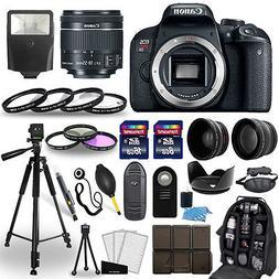 Canon EOS Rebel T7i SLR Camera + 18-55mm STM Lens + 30 Piece