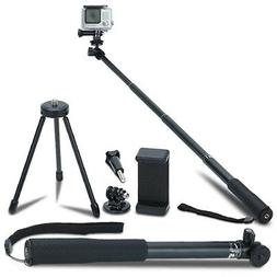 Extendable Selfie Stick Monopod + Tripod Stand for GoPro and