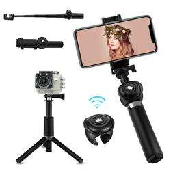 Extendable Selfie Stick Tripod Mount With Bluetooth Remote F