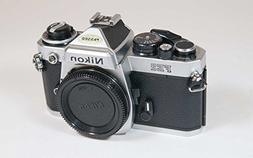 Nikon FE2 film SLR camera with chrome body; no lens