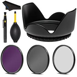 PRO 49mm Filter Kit + PRO 49 mm Tulip Lens Hood for Canon EF