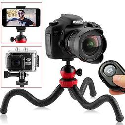 "Flexible Tripod, 12"" Camera Tripod + Bluetooth Remote for iP"