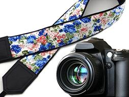 Flowers camera strap. Blue and pink roses. Black DSLR / SLR