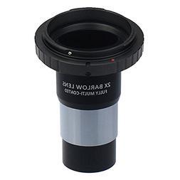 Gosky 1.25-Inch Camera T-Adapter / 2x Barlow Lens and Nikon