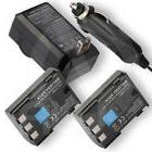 2 Li-Ion Battery Pack +Home Wall Car Charger for Canon EOS 3