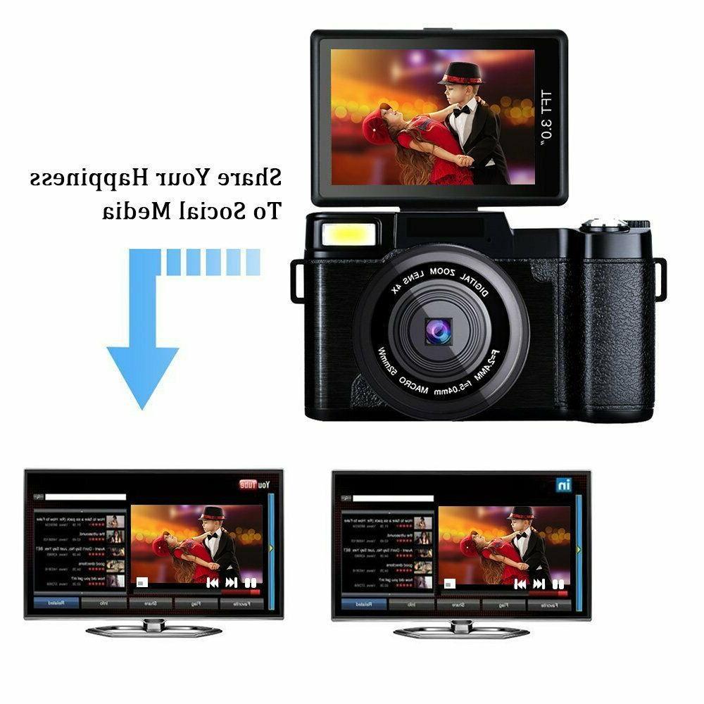 3.0Inch Digital 1080P Camera Flip Screen Vlogging Camcorder