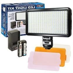 Vidpro LED-300 Ultra-Slim Video Light with 3 Diffusers, Batt