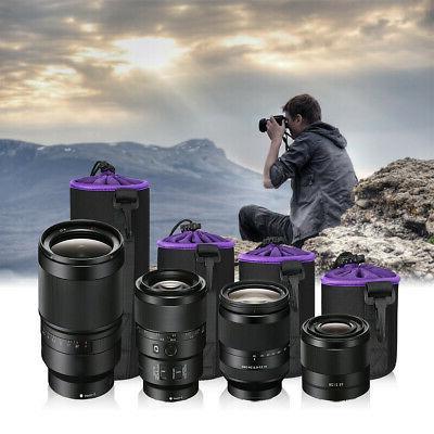 4 Pack Neoprene DSLR Camera Lens Pouch Protector Bag Case Se