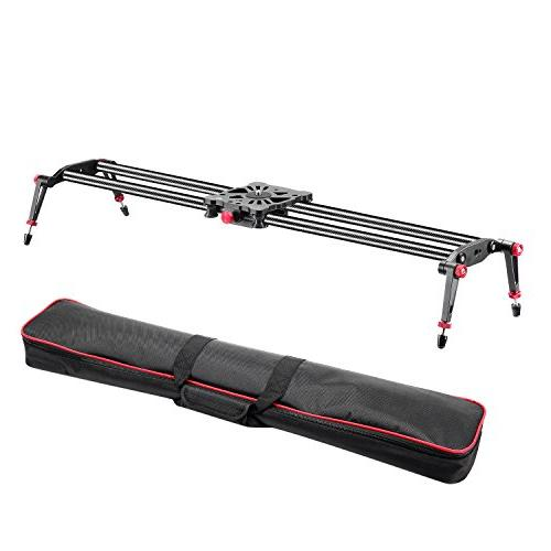 Neewer 47.2 1.2m Fibre Track Dolly Slider Rail System 17.5lbs8kg Load Capacity