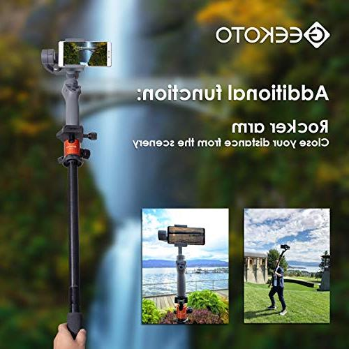 """Geekoto 58"""" Compact and Lightweight Tripod with Panorama Head, for DSLR, OSMO, Travel Work"""