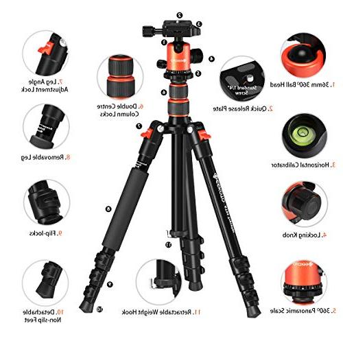 """Geekoto 58"""" Ultra and Aluminum with Panorama Head, Camera Travel Work"""