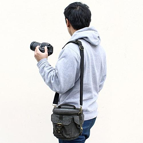 Camera Bag Evecase Compact DSLR/SLR Camera Carrying Small Canvas for System, Micro High Power Instant