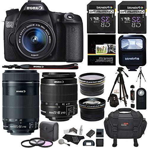 Canon EOS 70D 20.2 MP AF Full HD 1080p DSLR Camera Bundle wi