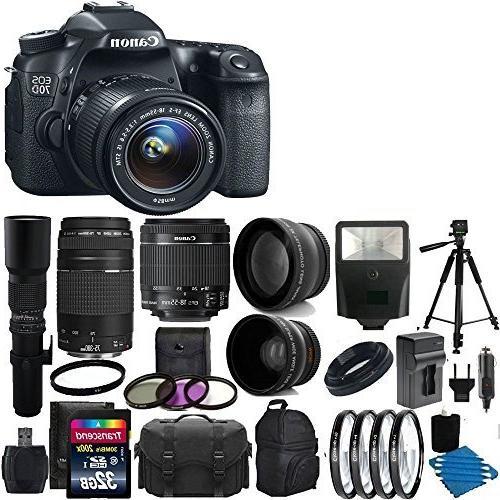 Canon EOS 70D 20.2 MP Digital SLR Camera Bundle with Lens, S