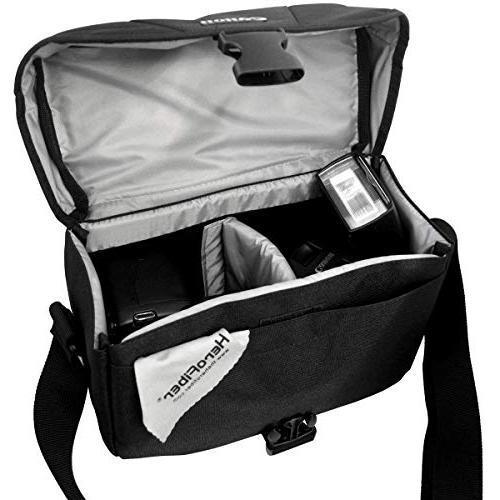Canon Multi Compartment Camera Adjustable Strap + HeroFiber Cloth for SLR
