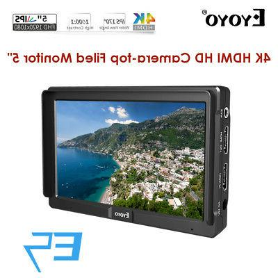 "Eyoyo 5"" Ultra FHD Slim On-camera Video Field HDMI For DSLR"