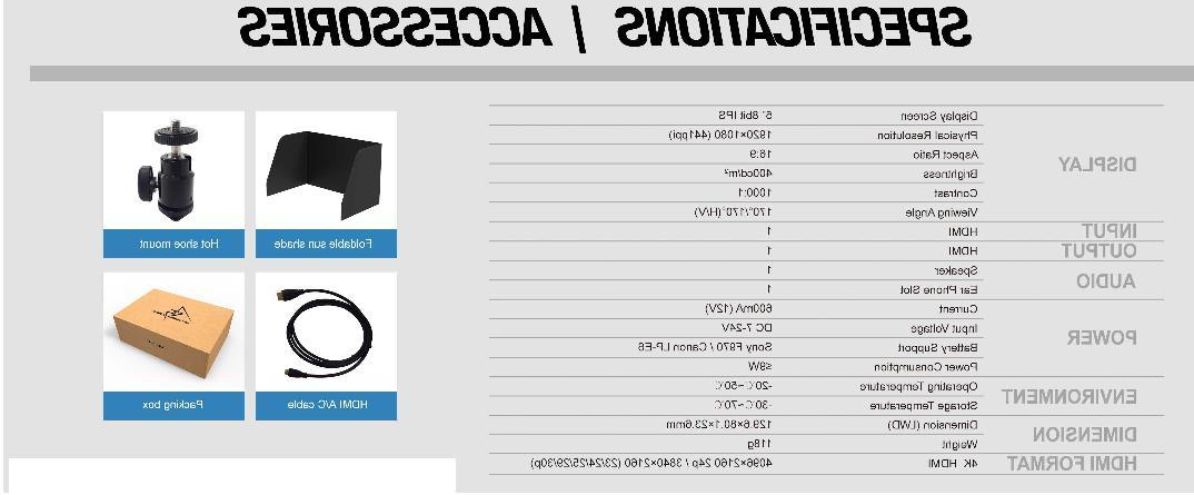 Lilliput 8bit 4K HDMI DSLR Camera F970/LP-E6 Plate