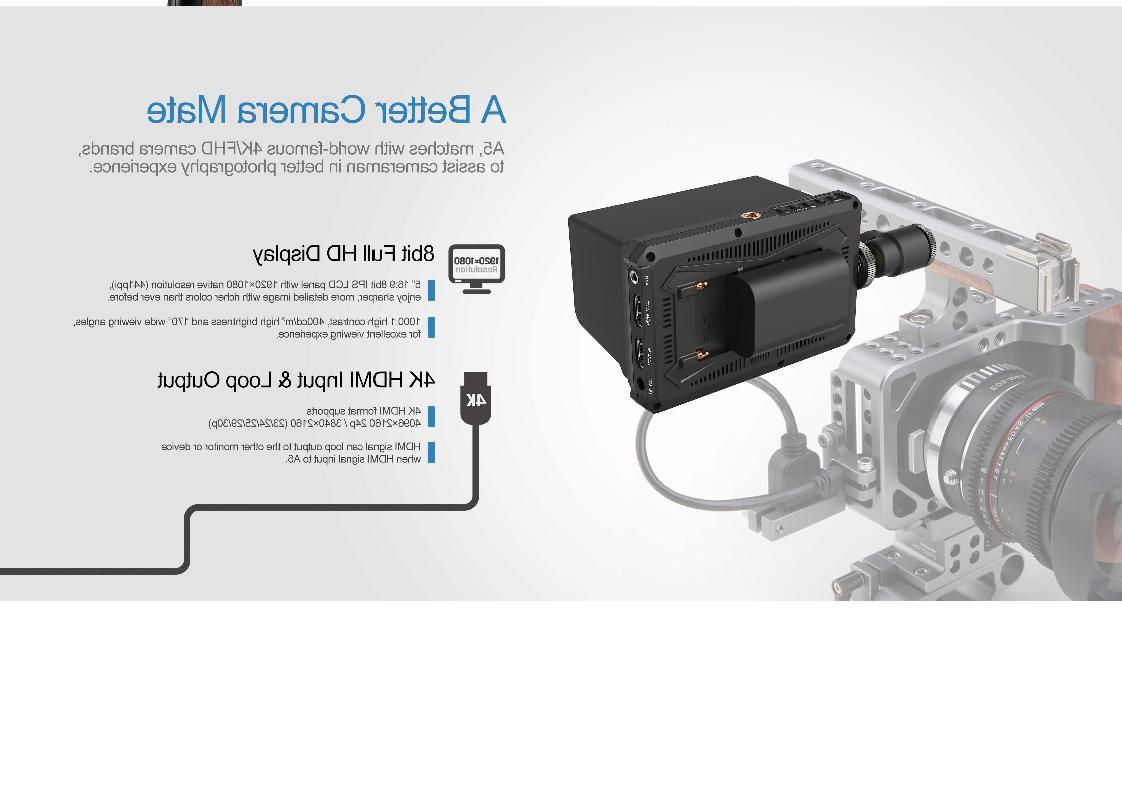 "Lilliput A5 5"" 8bit Camera field monitor F970/LP-E6 Plate"