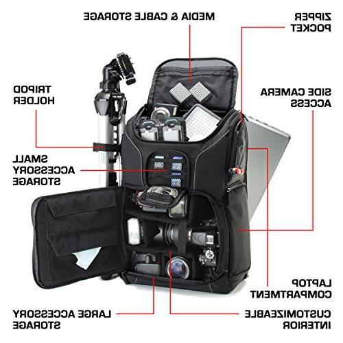 Professional Backpack Photo Strap Laptop , Holder Lens and for Canon T5 T5i T6i More Full-Sized Digital SLR