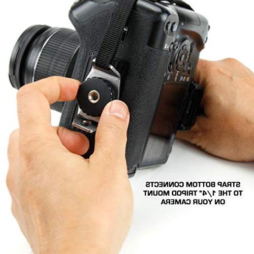 Professional Camera Strap Black Neoprene Design Plate by USA - , Nikon , DSLR ,