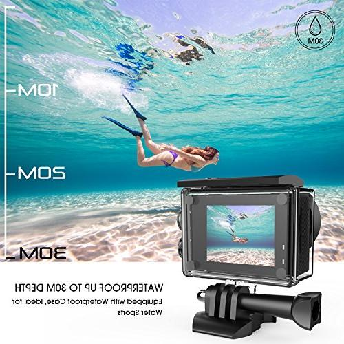 DBPOWER Action Camera, HD Sports Camera, Underwater Wide-Angle Rechargeable Accessories