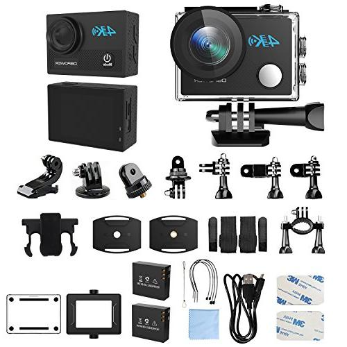 DBPOWER 4K Action Camera, 5X HD Sports Underwater With 170° Wide-Angle 2 Rechargeable Accessories Kit