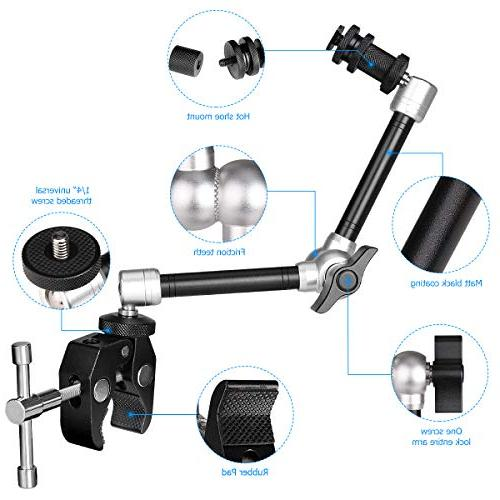 11 Inch Adjustable Articulating Israeli Magic w/Super Clamp Super Wide + Hi-Torque Knob Gopro Adapter Gopro Sony Action Camera Cell Phone