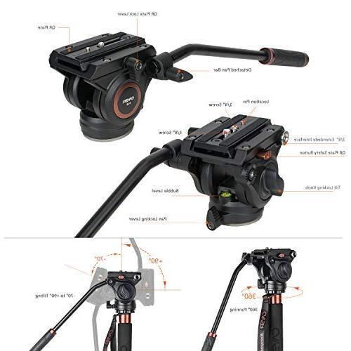 Cayer AF34DVH4 Professional Monopod Aluminum Tilt 3-Leg Tripod Base DSLR Video Cameras Plus Sliding Plate
