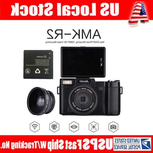 AMKOV AMK-R2 24MP HD Digital Camera Wide-angle Battery