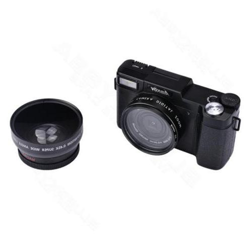 AMKOV 24MP 1080P HD SLR DSLR Camera Lens +Free Battery