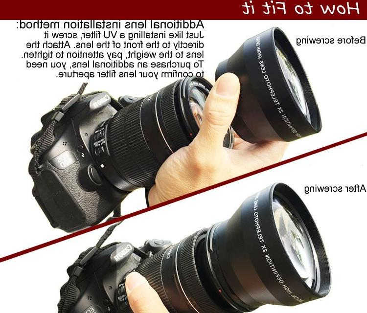 Camera 2.0X Length Additional Lens 49/52/55/58mm Extended Telescope
