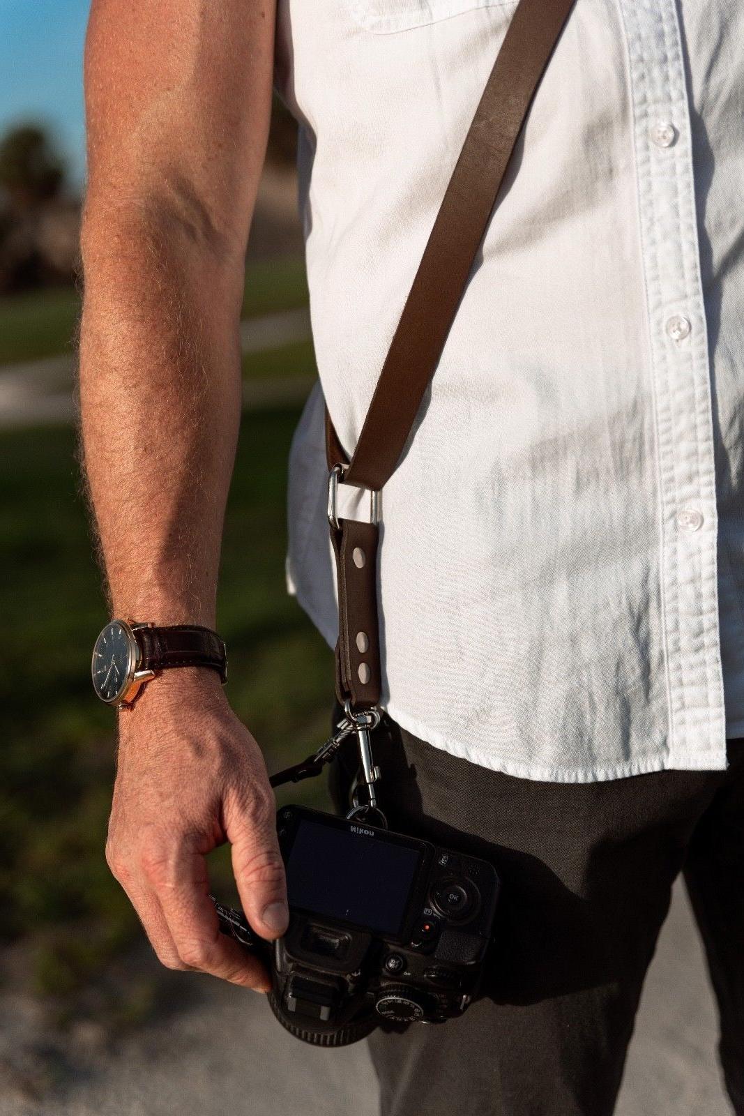 Camera Sling Release Leather Adjustable SLR/DSLR Brown
