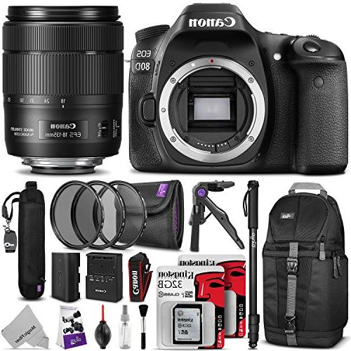 Canon 80D Camera EF-S 18-135mm f/3.5-5.6 IS Lens w/ Photo and Travel