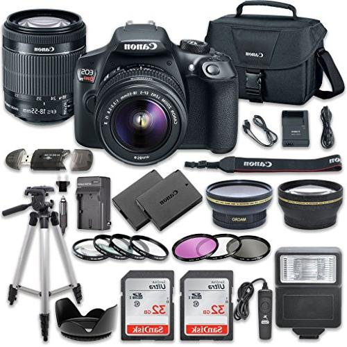DSLR Bundle Canon IS 2pc SanDisk 32GB Memory Cards + Accessory Kit