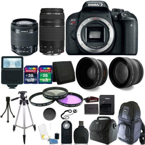 Canon EOS Rebel T7i DSLR Camera + 18-55 STM + 75-300mm Lens