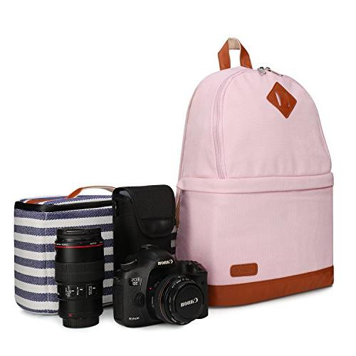 Kattee Professional SLR DSLR Camera Backpack Laptop Bag with Rain for Nikon Pink